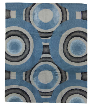 Tufenkian Tibetan Shaded Rings Blue Area Rug