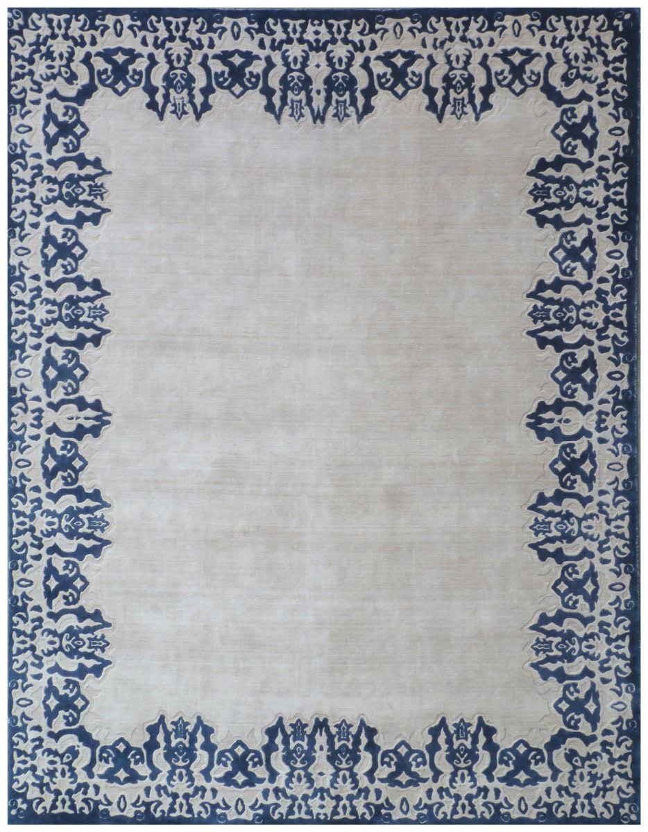 Exquisite Rugs Roset Hand Woven Ivory Blue Rug Studio