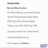 SEWA Rumah 2 kamar tidur SentraLand Paradise Parung Panjang Bogor Barat ->