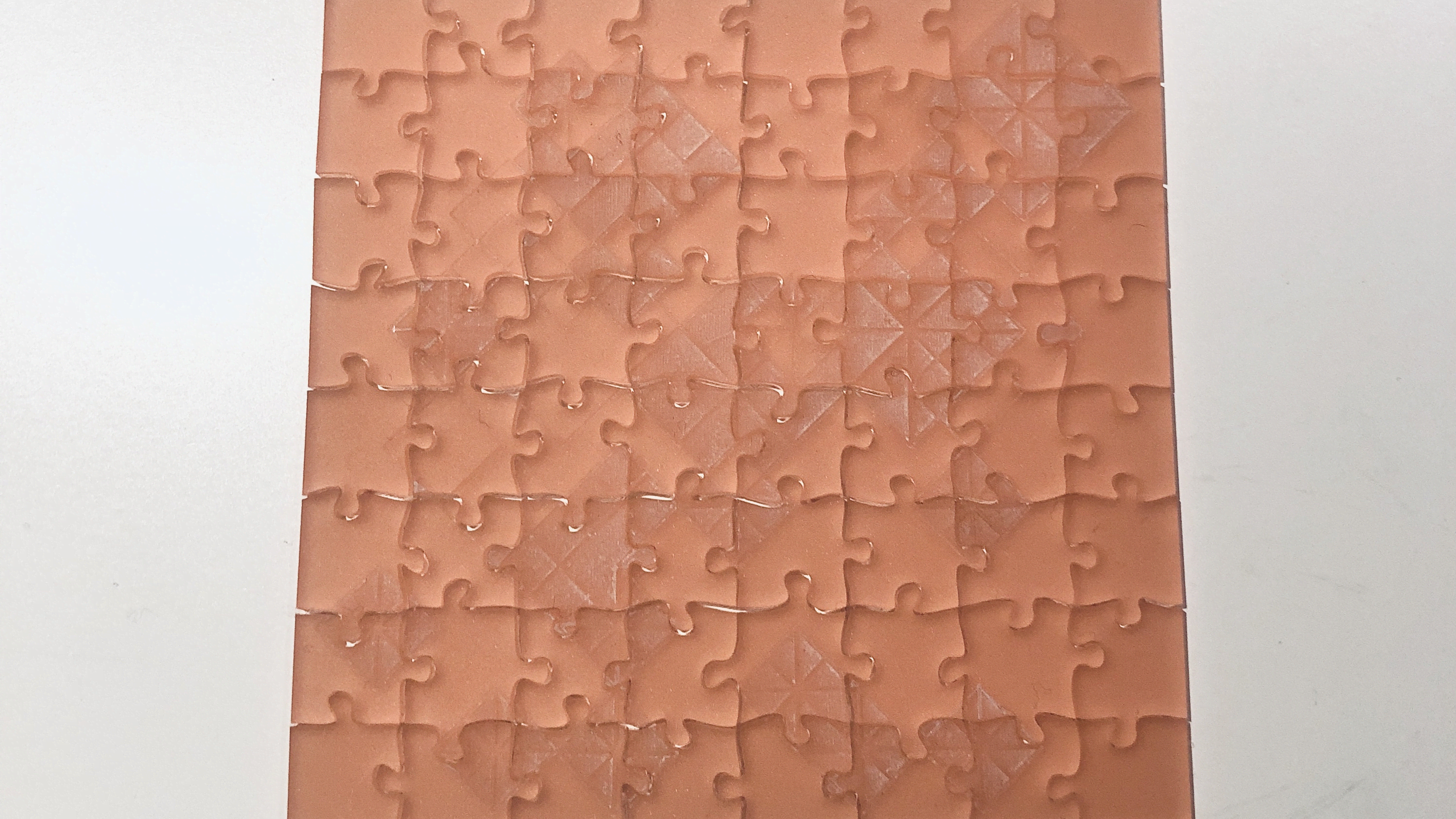 A photo of the perspex jigsaw completed