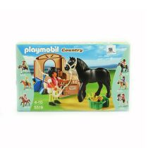 PLAYMOBIL BLACK STALLION WITH STALL