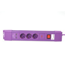 KRISBOW STOP KONTAK 3 SOCKET DENGAN ON/OFF DAN USB - UNGU