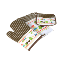 ARTHOME SET CELEMEK DAPUR MOTIF FUN KITCHEN COKELAT - 3 PCS