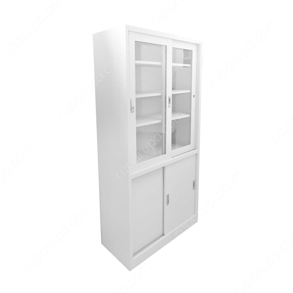 Jual Lemari Kantor Pintu Geser Kaca 90 X 40 X 185 Cm Putih