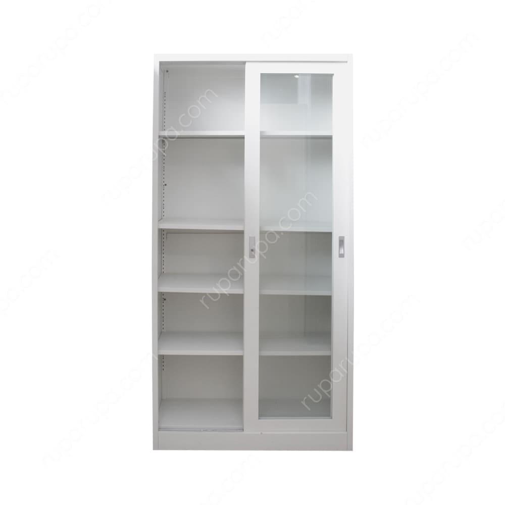 Jual Lemari Kantor Dengan Pintu Kaca Geser Putih Terbaru