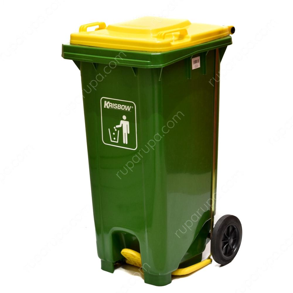 Krisbow Tempat Sampah Plastik Outdoor 120 Ltr Hijau