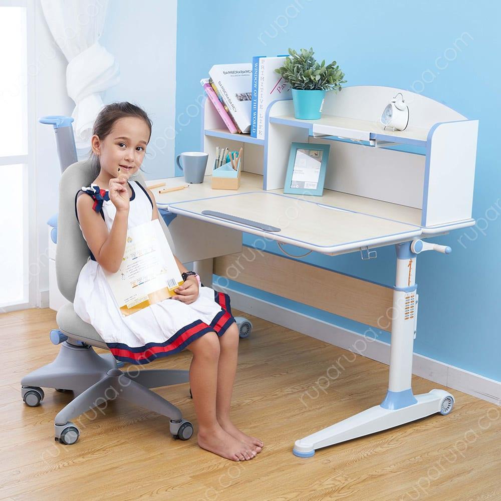 Lynn Meja Belajar Anak Ergonomis Biru