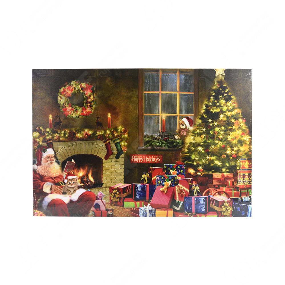 Hiasan Dinding Natal Kanvas Santa Pohon Natal Dengan 5 Led