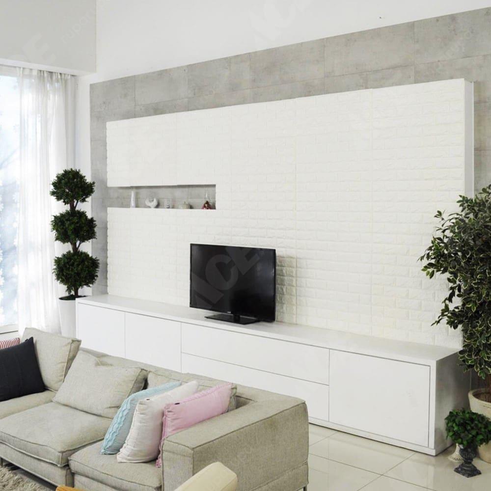 Arthome Wallpaper 3d Motif Bata 70x77 Cm Putih