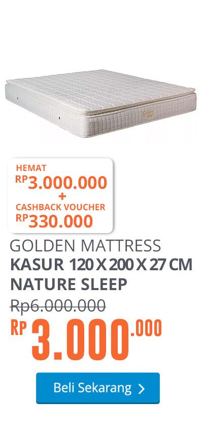 GOLDEN MATTRESS KASUR 120 X 200 X 27 CM NATURE SLEEP - PUTIH