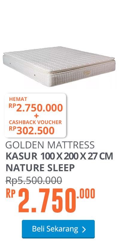 GOLDEN MATTRESS KASUR 100 X 200 X 27 CM NATURE SLEEP - PUTIH