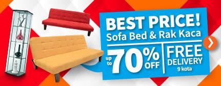 Sofa Bed dan Rak Kaca