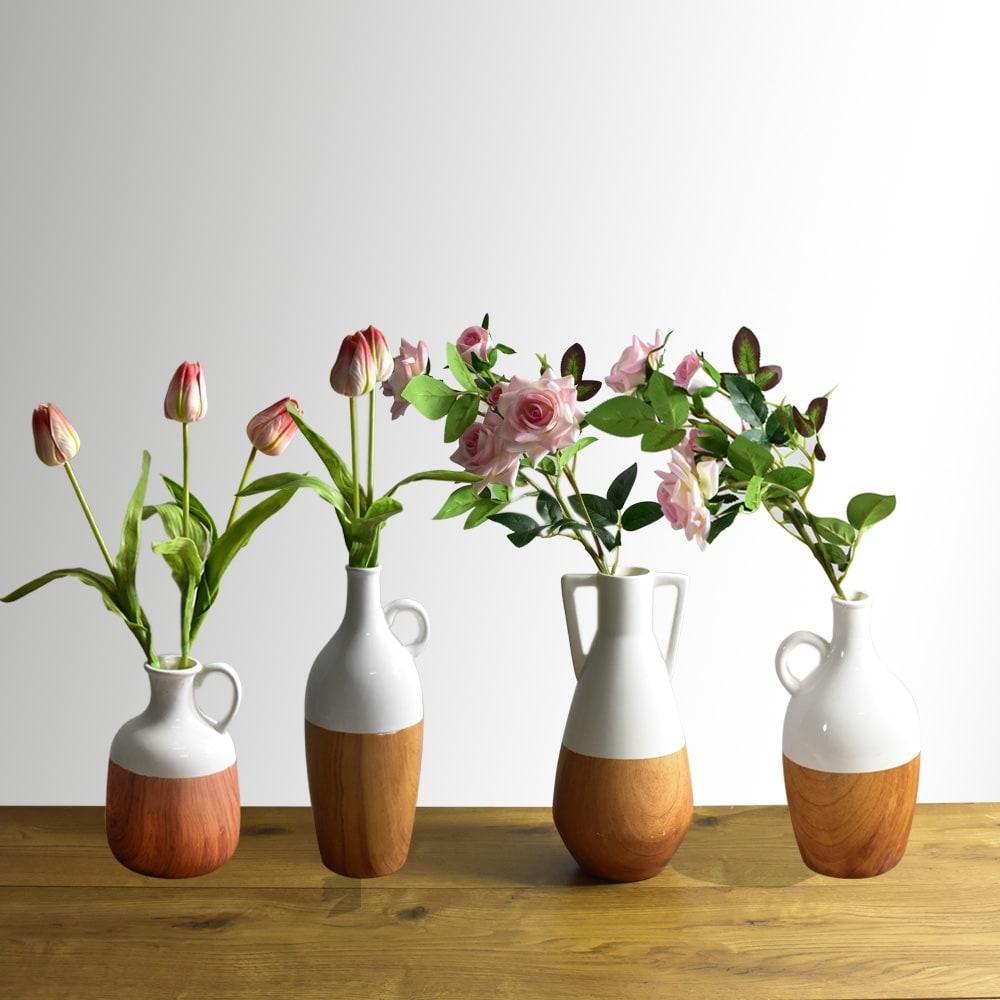 Jual Arthome 31 1 Cm Vas Keramik Dolomite Deco Putih Kayu Original Ace