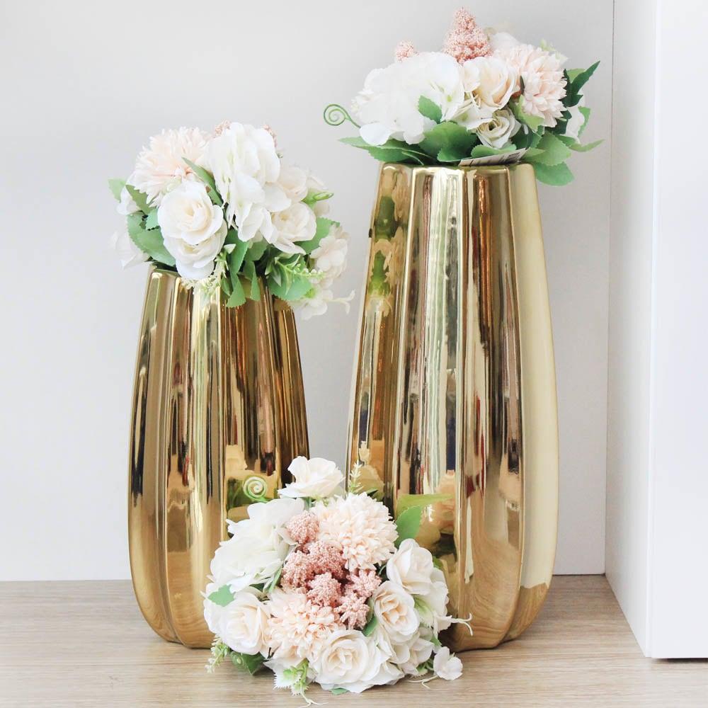 Jual Vas Keramik 27 Cm Archie Gold Terbaik Informa