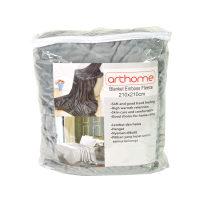 Arthome Selimut Emboss Fleece 210x210 cm - Abu-Abu