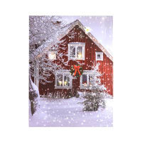 XMAS HIASAN DINDING KANVAS RED HOUSE DENGAN 4 LED