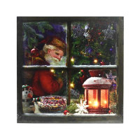 XMAS HIASAND DINDING KANVAS SANTA WINDOW DENGAN 5 LED