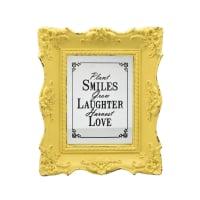 HIASAN DINDING PLAKAT SMILE, LAUGHTER, LOVE 25X4.3X30 CM - KUNING