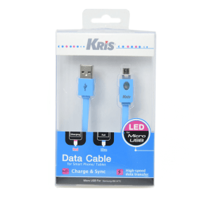 KRIS KABEL DATA MICRO USB DENGAN LED - BIRU