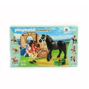 PLAYMOBIL BLACK STALLION WITH STALL