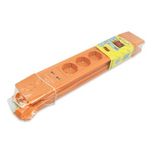 KRISBOW STOP KONTAK 3 SOCKET DENGAN ON/OFF DAN USB - ORANYE