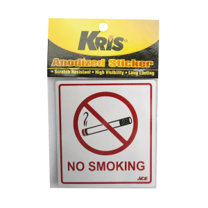 KRIS STIKER ANODIZED 9X10CM - NO SMOKING