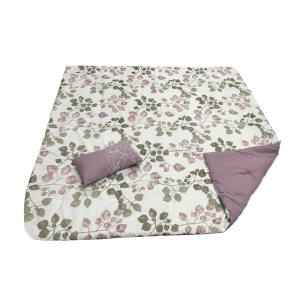 SET BED COVER MOTIF BUNGA 210X210 CM – UNGU