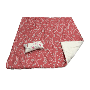 SET BED COVER MOTIF BUNGA 210X210 CM – MERAH