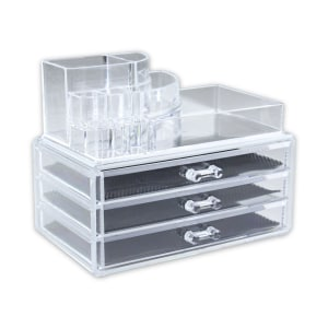 MAKE UP ORGANIZER ACRYLIC DENGAN 3 LACI