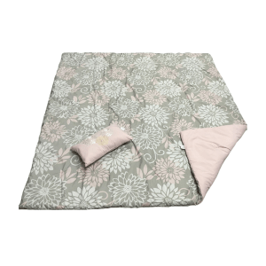 SET BED COVER MOTIF BUNGA 210X210 CM – ABU-ABU