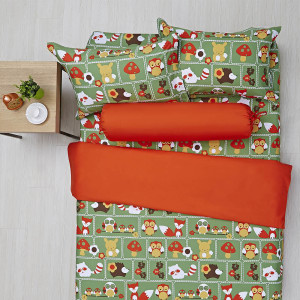 SET SEPRAI ANAK MOTIF BINATANG - HIJAU ORANGE