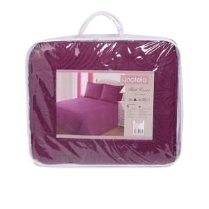 LINOTELA BED COVER MOTIF BUNGA  240 X 210 CM - UNGU