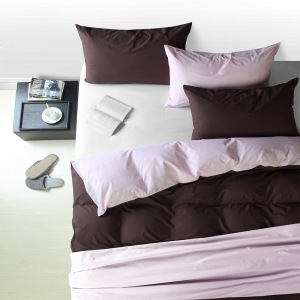 LINOTELA TWO TONE DUVET COVER KING BED – PETAL BROWN