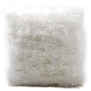GLERRY HOME DECOR BANTAL SOFA WHITE FUR CUSHION 40X40CM