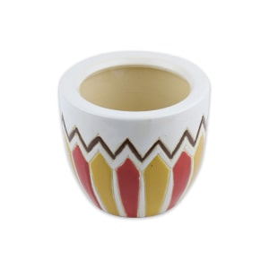 POT KERAMIK BULAT MOTIF TRIBAL 15CM