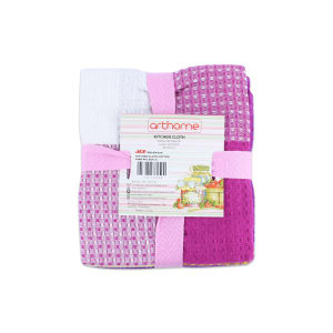SET KAIN LAP DAPUR COTTON 3 PCS - PINK/UNGU