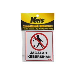 KRIS SIGN LABEL JAGALAH KEBERSIHAN 9X10 CM