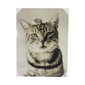 HIASAN DINDING PRINT CANVAS CAT & MOUSE 80X60X2.5 CM