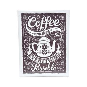 HIASAN DINDING KANVAS COFFEE MAKES POSSIBLE 80 X 60 X 2,5 CM