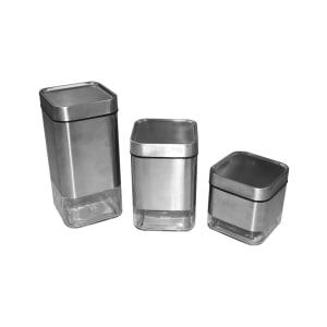 APPETITE SET STOPLES CANISTER SILVERIA SQUARE - 3 PCS