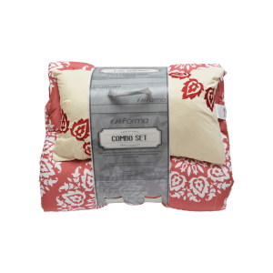 SET BED COVER MOTIF BUNGA 210X210 CM - ORANYE