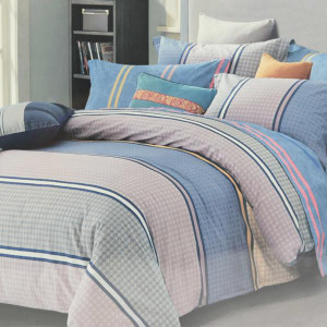 BED COVER STRIPE 240X210 CM - COKELAT