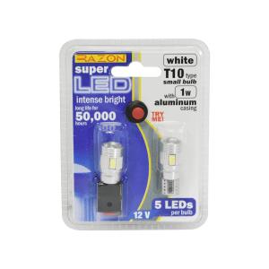 RAZON SET LAMPU LED MOBIL T10 5 LED 2 PCS - PUTIH