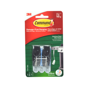 3M COMMAND PENGAIT DINDING OUTDOOR STAINLESS STEEL