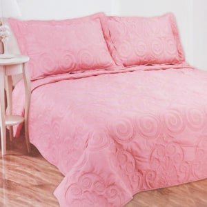 BED COVER SET 240X240 CM - PINK