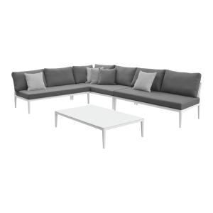 sheffield set sofa DAN meja - abu-abu/putih