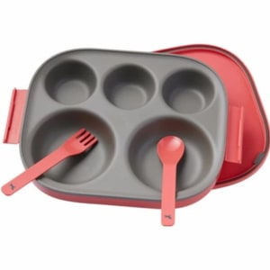 POT DE MIEL KOREA food tray  SPOON FORK FOR KIDS BABY - CORAL RED