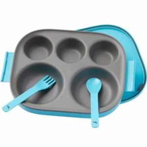 POT DE MIEL KOREA FOOD TRAY  SPOON FORK FOR KIDS BABY - blue