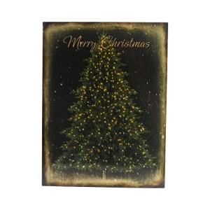 XMAS HIASAN DINDING KANVAS pohon natal DENGAN LED