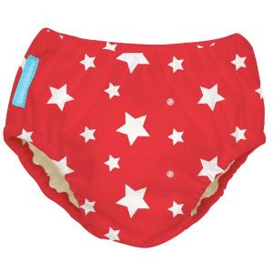 CHARLIE BANANA 2-IN-1 SWIM  DIAPER & TRAINING PANTS WHITE STARS RED